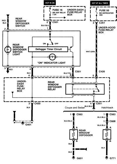 auto wiring diagram  honda civic rear window