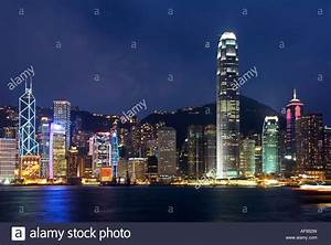 Night View of the famous Hong Kong Skyline seen from the ...