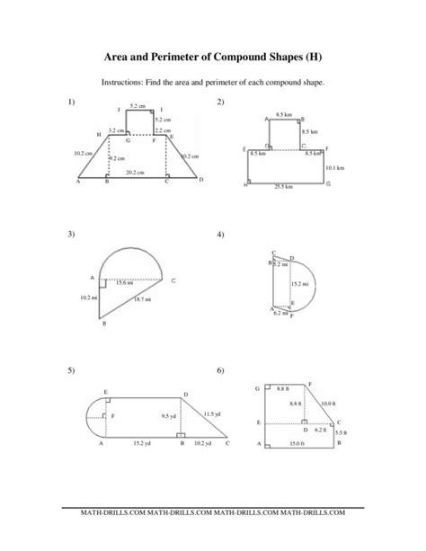 Printable Math Worksheets Area Compound Shapes  Area Worksheetsvolume And Surface Of Triangular