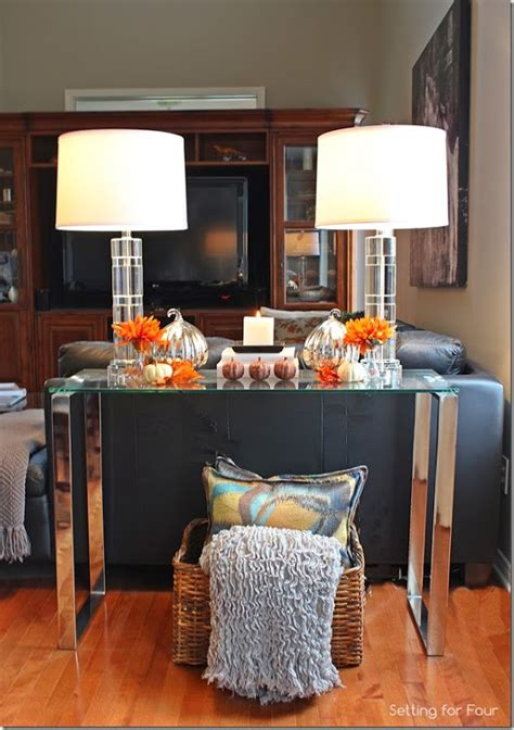 How To Decorate A Sofa Table A by How To Create And Decorate A Fall Vignette Setting For Four