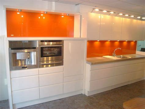 Kuche Orange by Colourx Orange Backpainted Glass Kitchen Splash Back All