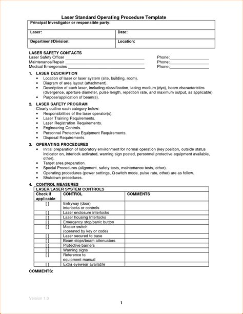 proc template 14 standard operating procedures templates authorizationletters org