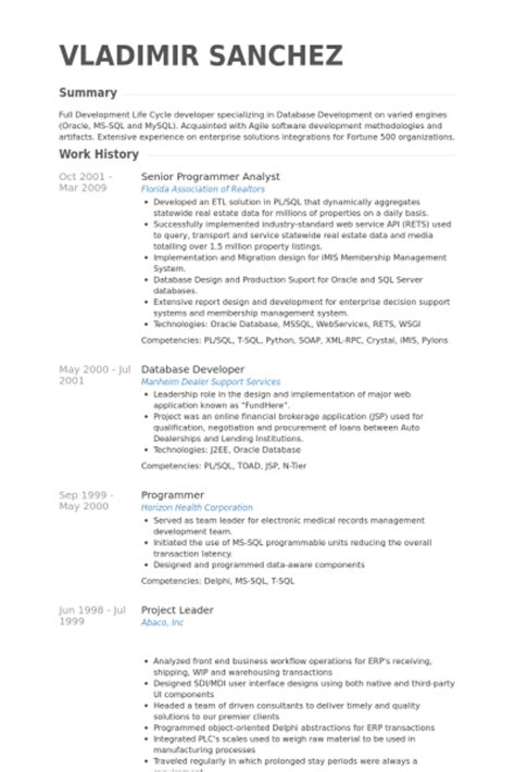 Analyst Programmer Curriculum Vitae by Analyste Programmeur Senior Exemple De Cv Base De