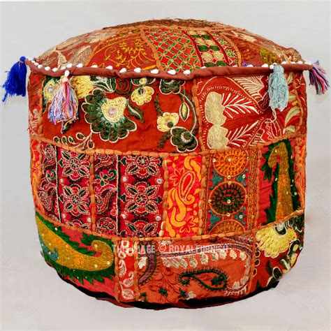 poof ottoman small brown multi patchwork floor seating pouf