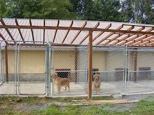 Covered outdoor dog kennels with play yard connection yelp for Outside covered dog kennels
