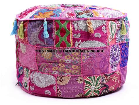 New Large Indian Round Seating Pouf Cover Footstool