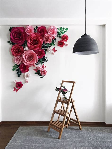 Deco floral floral wall floral design flower wall design decoration chic decoration vitrine flowers decoration wall of roses rose wall. Paper Flowers by Mio Gallery on Etsy See our 'paper art ...