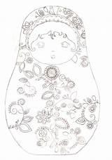 Coloring Coloriage Matryoshka Babushka Doll Matriochka Russe Ausmalbilder Adult Colorare Embroidery Dolls Bambole Watercolor Patterns Poupee Juin Embroiderymom Digi Zentangle sketch template
