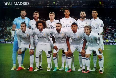 real madrid 11 players 2017 poster 23 x34 uefa league football soccer ebay