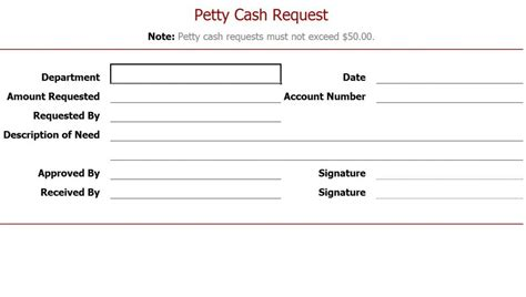 petty cash request form petty cash request slip