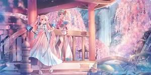 2girls, Aqua, Eyes, Blush, Cherry, Blossoms, Fan, Flowers, Green, Hair, Gumi, Hatsune, Miku, Japanese, Clothes