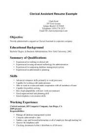 assistant resume exles administrative clerk or clerical assistant resume template sle for seeker expozzer