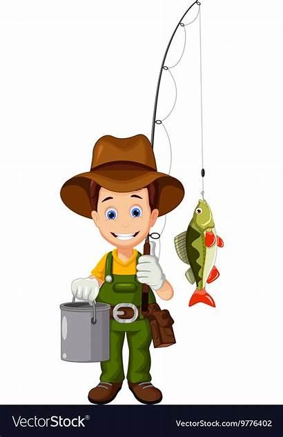 Fisherman Cartoon Funny Fish Vector Clipart Royalty