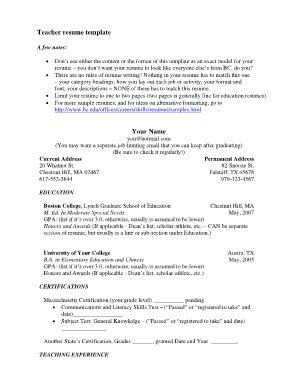 Boston College Resume Template by Resume Template Forms Fillable Printable Sles For Pdf Word Pdffiller