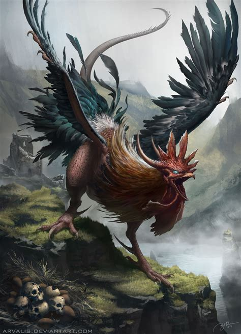 cockatrice monsters mythical creatures fantasy art