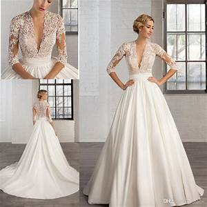 Discount 2017 sexy deep v neck lace appliques a line for V neck wedding dress with sleeves