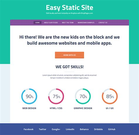 easy web design using droppages for a easy static website