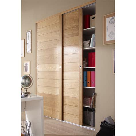 portes placards cuisine porte de placard coulissante chêne naturel spaceo