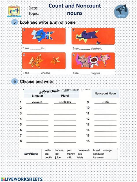 count  noncount nouns interactive worksheet
