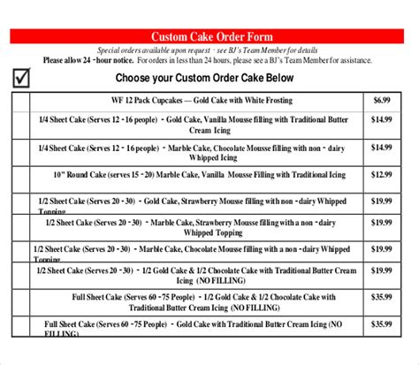 cake order form template bakery order template 20 free sle exle format free premium templates