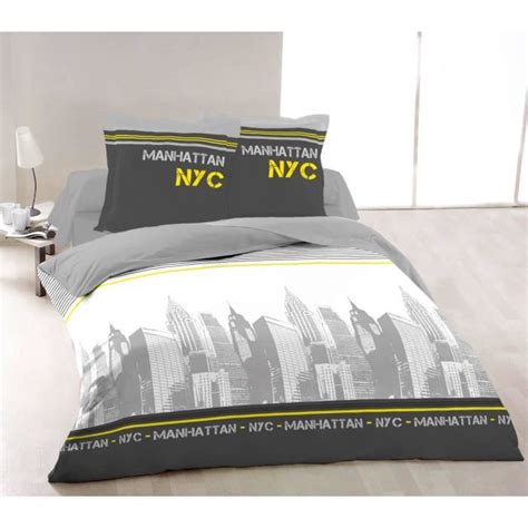 vision housse de couette new york jaune 220x240cm vision pickture