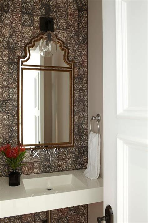 moroccan style powder room  brown mosaic tiles