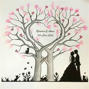 Bild Malen Lassen : wedding tree herz fingerabdruck baum hochzeit geschenk leinwand 50x50 60x60cm illustrationen ~ Orissabook.com Haus und Dekorationen
