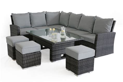 maze rattan casual kingston corner sofa dining set