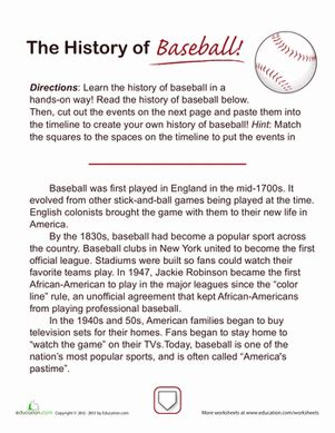 history of baseball worksheet education com
