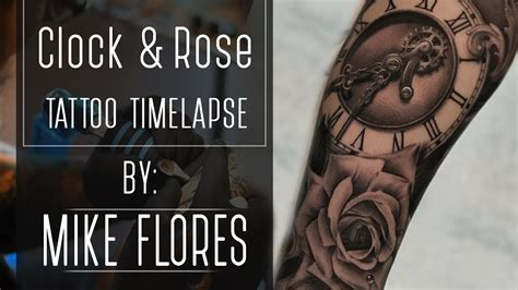 realistic clock  rose tattoo time lapse mike flores youtube