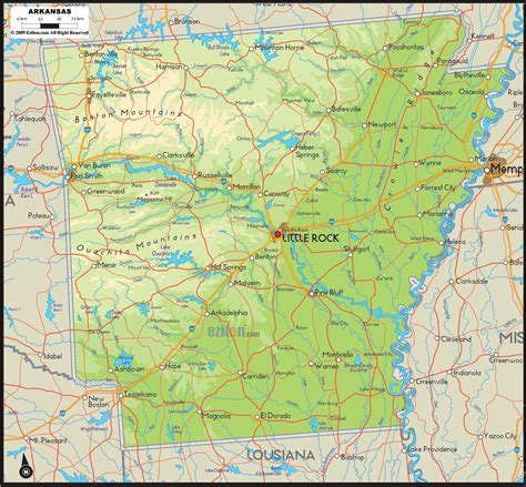 physical map  arkansas ezilon maps hiking