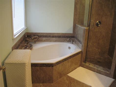 bath remodel with relaxing corner garden tub