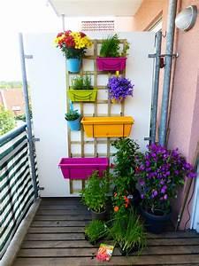 Kleiner balkon mit verschiedenen pflanzen und krautern in for Whirlpool garten mit frostschutz pflanzen balkon