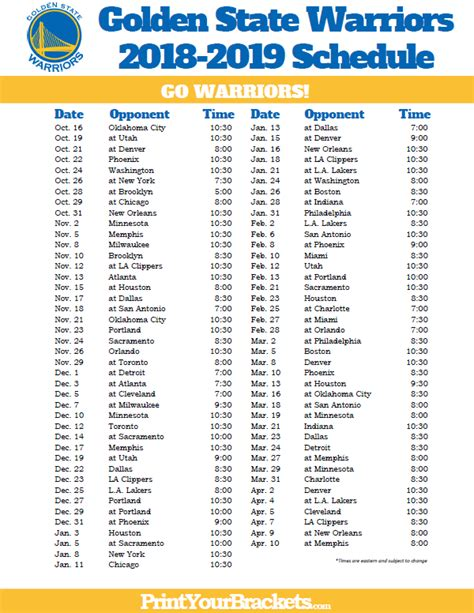 printable golden state warriors schedule printable nba