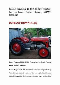 Massey Ferguson Te D20 Te A20 Tractor Service Repair Factory Manual Instant Download By
