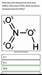 Solved  Draw The Lewis Structure For Nitric Acid  Hno3   H