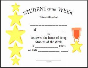 Certificates for teachers student of the week 2 for Student of the week certificate template free