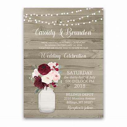 Rustic Reception Invitation Mason Jar Invitations Cards