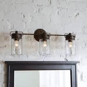 dimmable 3 light aged bronze bathroom vanity light mason