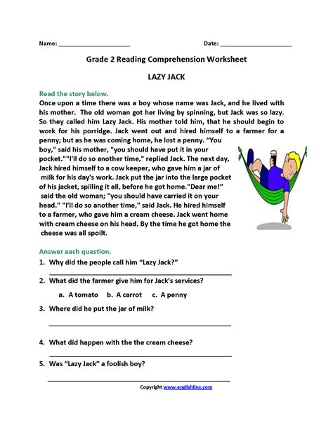 Reading Comprehension Worksheets For Year 2  Worksheet Example