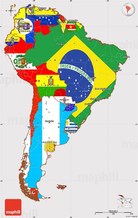 flag simple map  south america