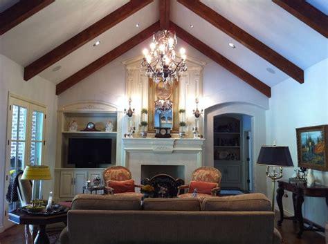 great room  cathedral ceiling rake beams