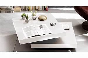 Table Basse Blanc Laqué : table basse carr e blanc laqu cbc meubles ~ Teatrodelosmanantiales.com Idées de Décoration