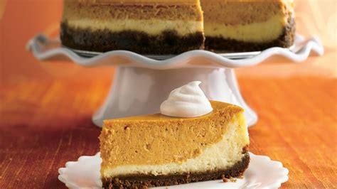 pumkin cheese layered pumpkin cheesecake recipe bettycrocker com