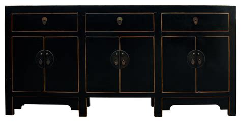 Chinese Distressed Rustic Black Sideboard Buffet Table