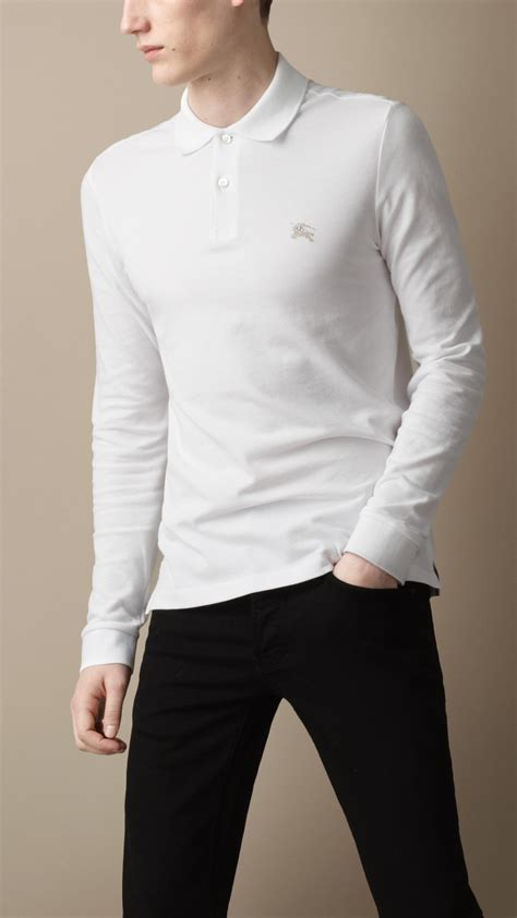 collar longsleeve lyst burberry sleeve polo shirt in white for