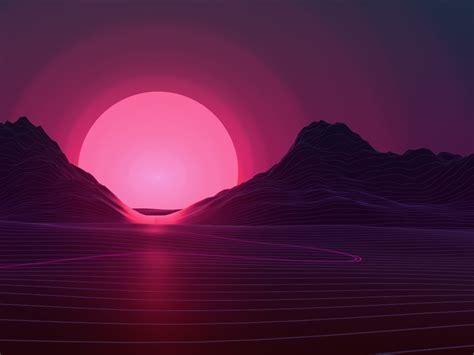 Sun In Retro Wave Mountains, Hd 4k Wallpaper