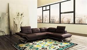 deco in paris canape d angle design en cuir marron With tapis chambre enfant avec jeté de canapé marron