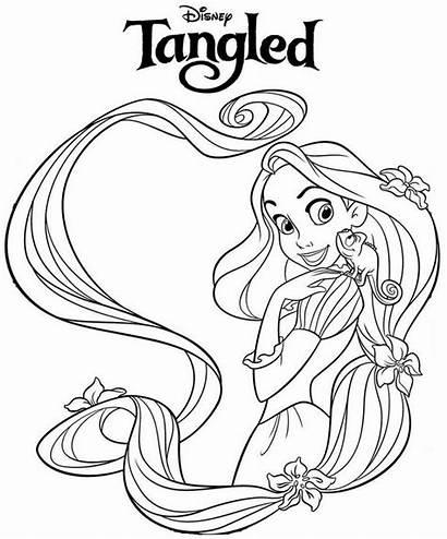 Rapunzel Coloring Disney Pages Tangled Princess Barbie