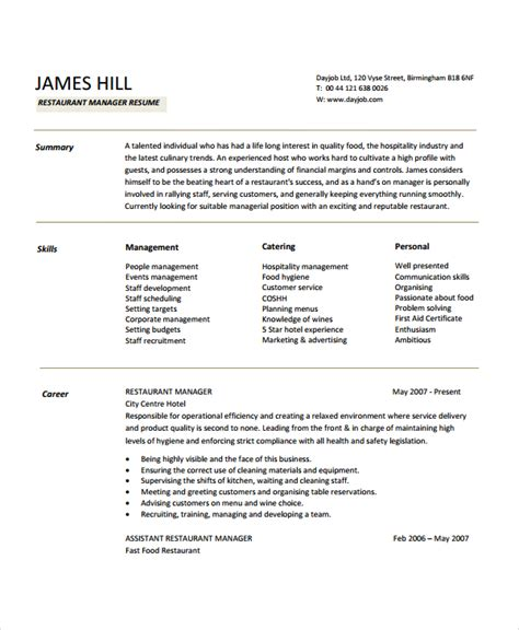 Manager Resume Template Free by Restaurant Manager Resume Sles Pdf Printable Planner
